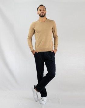 Pull col rond coton - Camel
