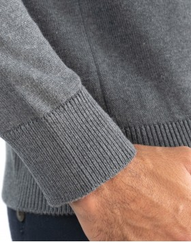 Pull col rond coton - Gris