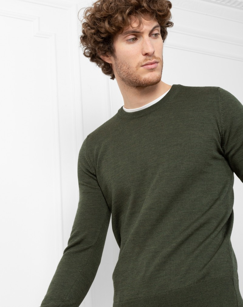 Pull Homme Mérinos Col Rond Pure Laine Vert Militaire