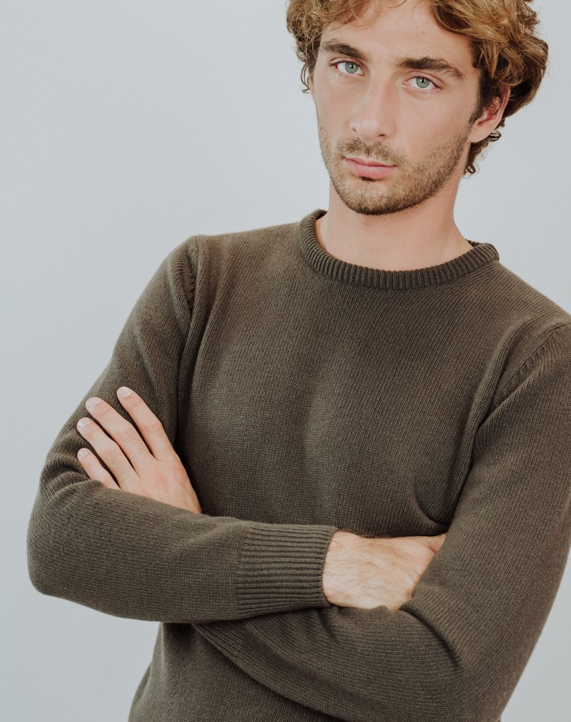Pull Homme Mérinos Col Rond Pure Laine Taupe