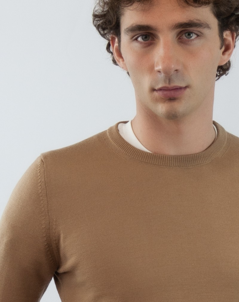 Pull Homme Mérinos Col Rond Pure Laine Camel