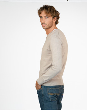 Pull col V pure laine - Beige