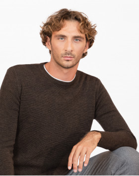 Pull Homme Mérinos Col Rond Point Marron Bistre