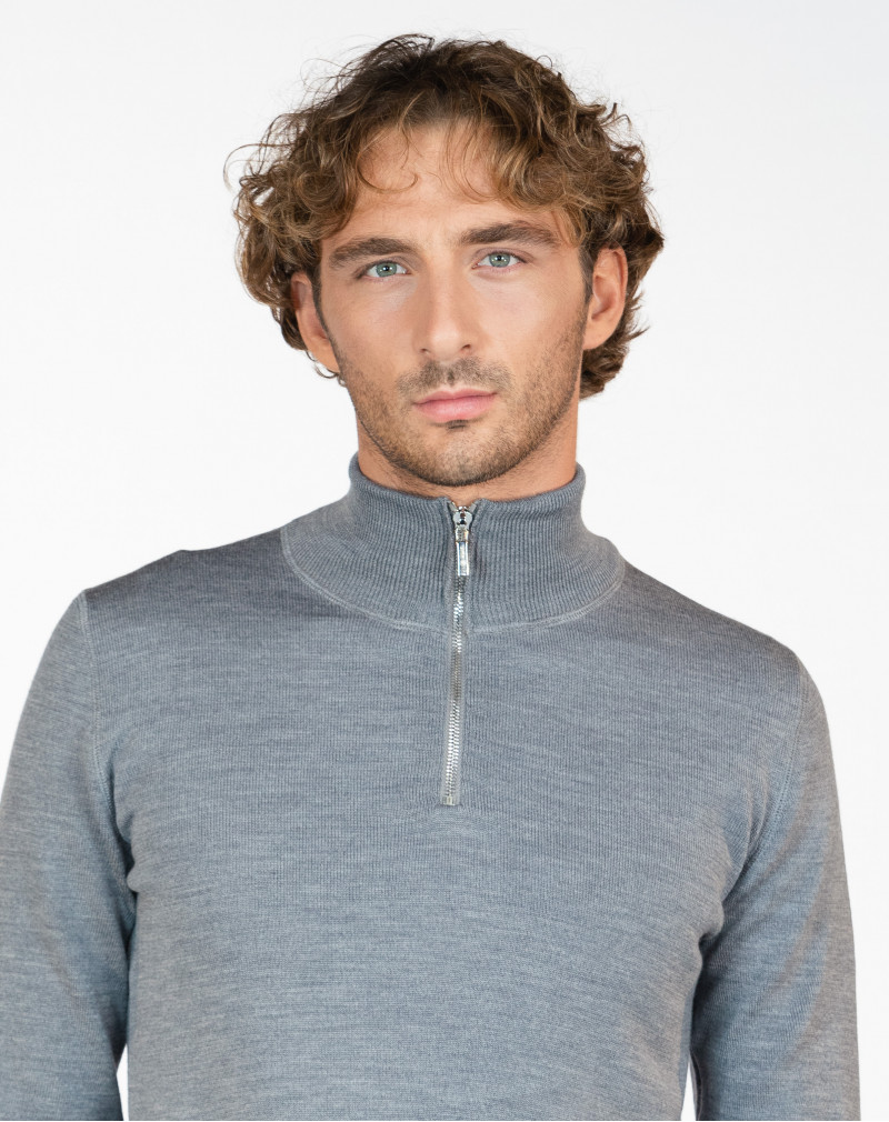 Pull Homme Mérinos Col Camionneur Gris Madrid